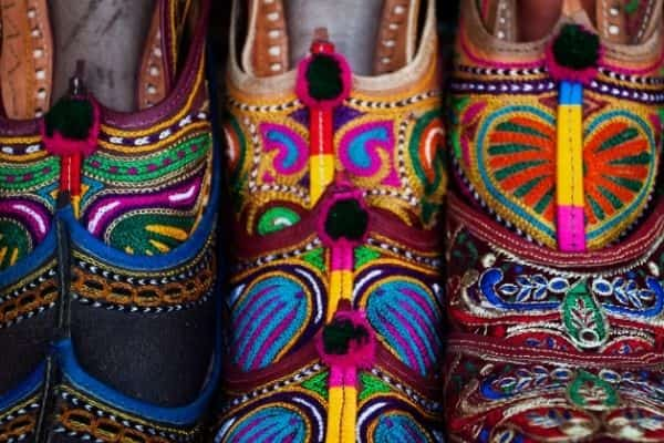 Hand crafted shoes in Rajasthan